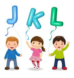 cartoon kids holding letter jkl shaped balloons vector image