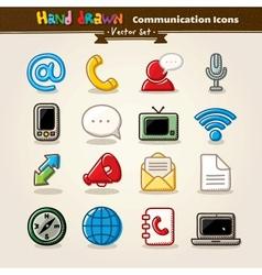 Hand Draw Communication Icon Set vector image