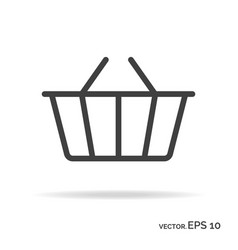 shopping basket outline icon black color vector image vector image