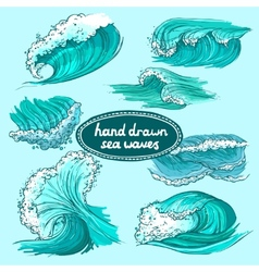 Waves icons set colored vector image vector image