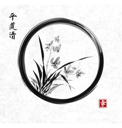 wild orchid on meadow in black enso zen circle vector image