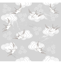 Cute seamless swallow and cloud pattern vector image vector image