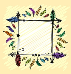 Decorative frame with arrows and feathers vector image vector image