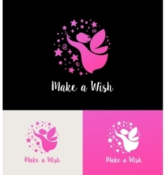 Fairy with magic wand - make a wish vector image vector image