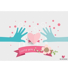 Hands holding heart Heart paper with floral vector image vector image