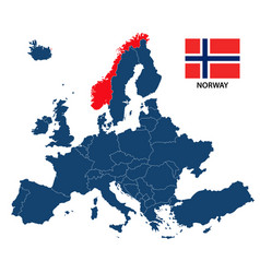 map of europe with highlighted norway vector image vector image