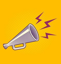 megaphone in engraving style vector image vector image