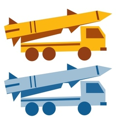 Military missile vehicle cartoon silhouette vector image vector image
