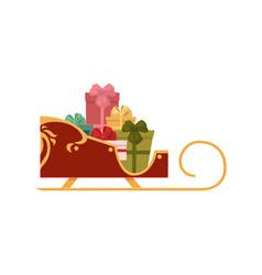 santa sleigh full of present boxes christmas icon vector image