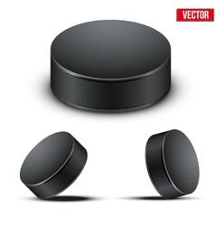 Set of Black Hockey pucks vector image