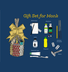 Sets of consuming items in a basket for offering vector