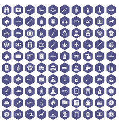 100 smuggling icons hexagon purple vector