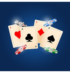 4 Aces on blue background vector