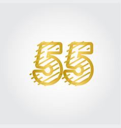 55 years anniversary gold line design logo vector