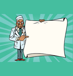 African doctor shows on copy space background vector