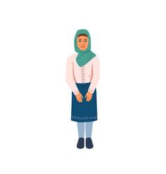 Arab teenage girl young muslim woman isolated vector