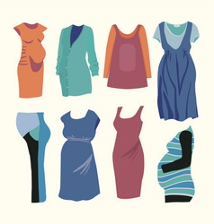 Ashion clothing for stylish pregnant woman vector
