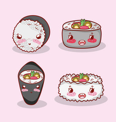 asian food cute kawaii cartoon vector image