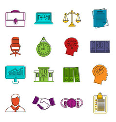 Banking icons doodle set vector