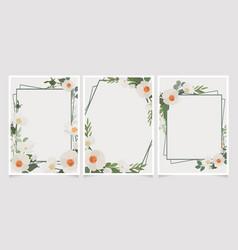 beautiful white camellia wreath frame wedding or vector image
