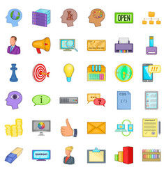 best idea icons set cartoon style vector image