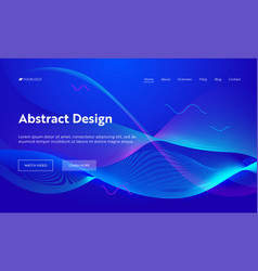 blue abstract geometric wave landing page vector image