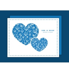 Blue white lineart plants heart symbol frame vector
