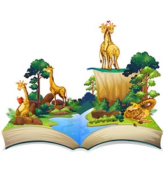 Book of giraffes living by the river vector image