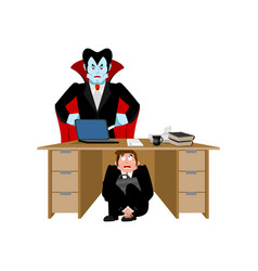 businessman scared under table of dracula vampire vector image