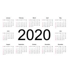 calendar 2020 year simple style vector image