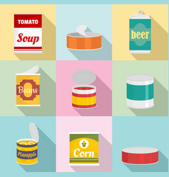 Canned icons set flat style vector