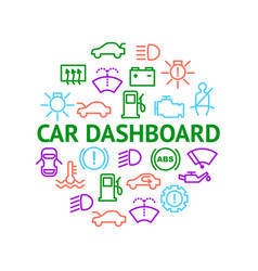 car dashboard signs thin line round design vector image