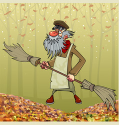 Cartoon bearded janitor with double sided broom in vector