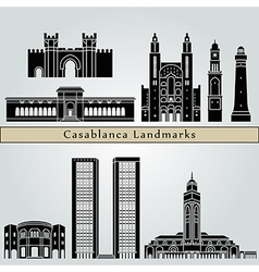 Casablanca landmarks and monuments vector