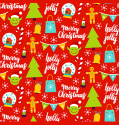 christmas red seamless pattern vector image