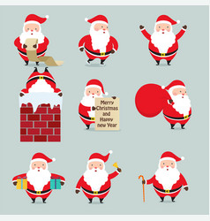 christmas set santa claus vector image