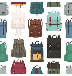 Colored seamless pattern with trendy backpacks or vector