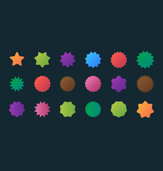 Colored stars emblems round sticker shapes promo vector