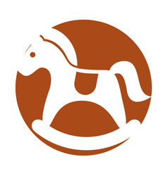 Cute carrousel horse isolated icon vector