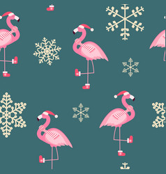 cute pink flamingo new year and christmas seamless vector image