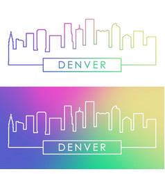 denver skyline colorful linear style vector image