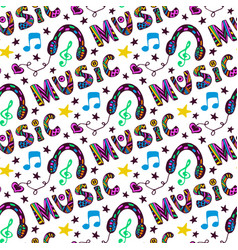 doodle music seamless pattern with headphones and vector image