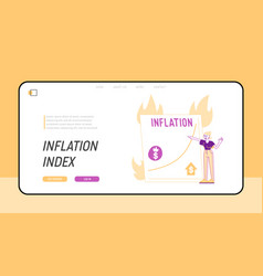 economy crisis inflation statistics landing page vector image