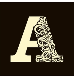 Elegant capital letter A in the style Baroque vector