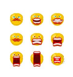 Emoticon set open mouth and teeth crazy emoji vector