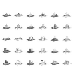 Factory and plant monochromeoutline icons in set vector