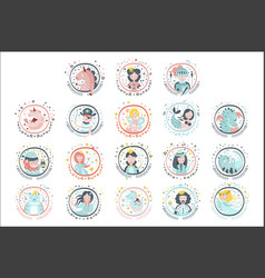 Fairy tale heroes girly stickers in round frames vector