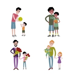 Father and kids together character vector