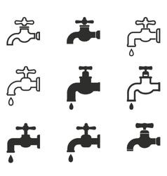 faucet icon set vector image