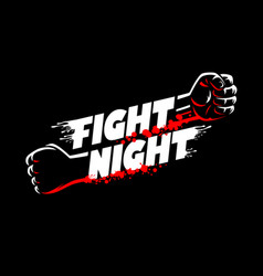 Fight night lettering fists clenched mma cage vector